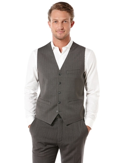 Perry Ellis - Deco Striped Herringbone 5 Button Suit Vest