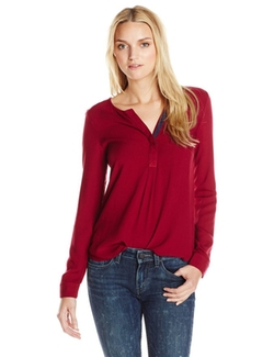Three Dots - Twill Henley Blouse