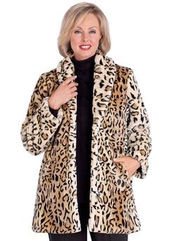 AmeriMark - Animal Print Faux Fur Coat