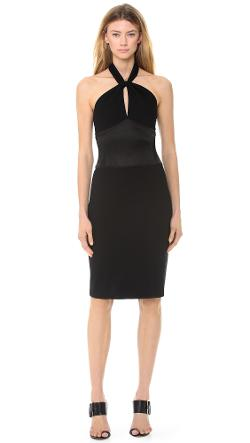 Jason Wu - Ponte & Satin Halter Neck Dress