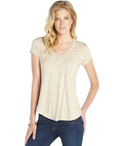 Heather - Almond Stretch V-Neck Short Sleeve Pocket Tee Shirt