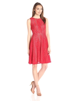 Sangria - Lace Fit-and-Flare Dress