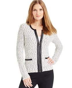 Alfani - Faux-Leather-Trim Textured Zip-Up Blazer