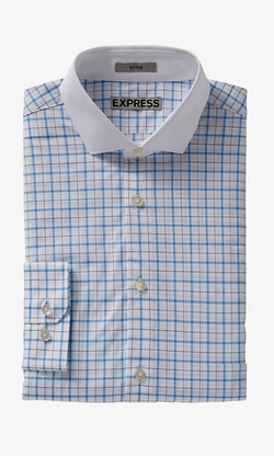 Express - Graph Check Contrast Collar Dress Shirt