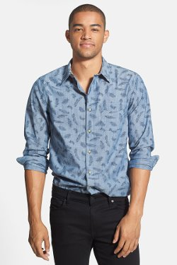 1901  - Feather Print Woven Shirt