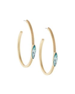 Sam Edelman  - Blue Rhinestone Open Hoop Earrings
