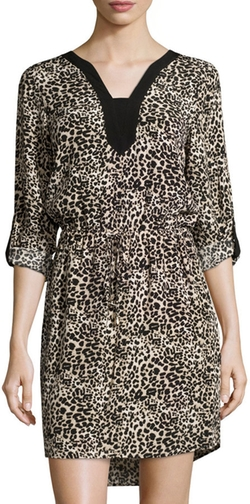 Vince Camuto - Leopard-Print Tab-Sleeve Drawstring Dress