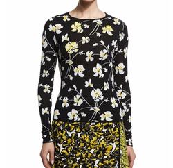 Oscar de la Renta  - Embellished Floral-Print Pullover Sweater
