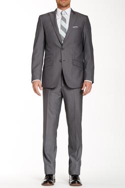 Marc New York - Medium Grey Sharkskin Two Button Peak Lapel Wool Suit