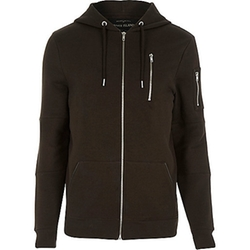 River Island - Zip Pocket Long Sleeve Hoodie
