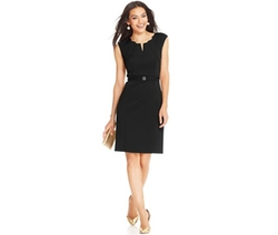 Ellen Tracy  - Cap-Sleeve Embellished Belted Sheath