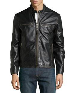 Marc New York by Andrew Marc  - Ryder Double-Zip Patched Leather Jacket