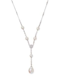 Majorica  - Pearl & Cubic Zirconia Y-Necklace