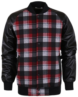 Ililily  - Plaid Gingham Bomber Jacket
