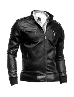 Uxcell - Stand Collar Leather Jacket