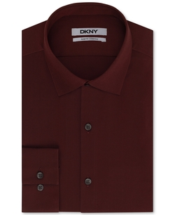 DKNY - Slim-Fit Bordeaux Solid Dress Shirt