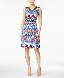 JM Collection - Sleeveless Printed Dress