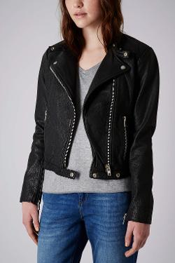 TOPSHOP - COLLARLESS LEATHER BIKER