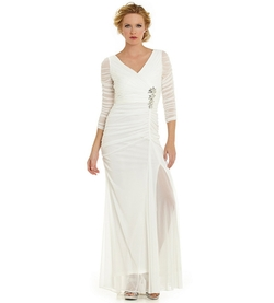 Adrianna Papell - Sheer-Sleeve Embellished Gown