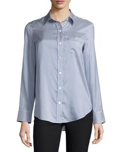 Theory - Simara Striped Silk Button-Down Shirt
