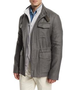 Loro Piana  - Shadow-Plaid Cashmere Field Jacket