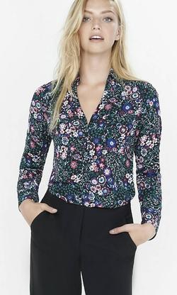 Express - Floral Convertible Sleeve Portofino Shirt