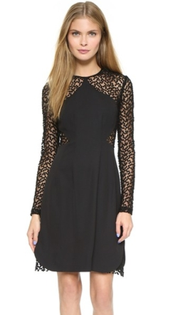 Lela Rose - Dot Sheer Panel Dress