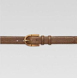 Gucci - Grainy Leather Belt With Bamboo Buckle
