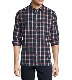 Vince  - Plaid Flannel Military Shirt