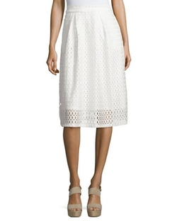 Neiman Marcus  - Pleated Lace Jersey Midi Skirt