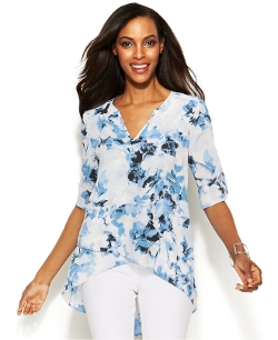 Alfani - Floral-Print High-Low Blouse
