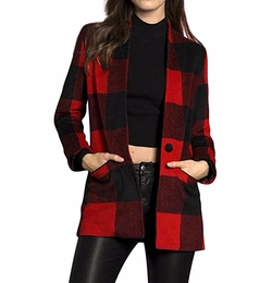 Allegra K - Classic Plaid Button Coat