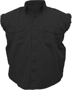 Allstate Leather  - Sleeveless Denim Twill Biker Shirt