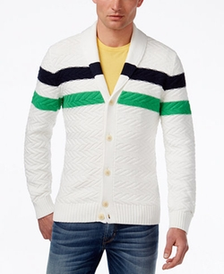 Tommy Hilfiger - Stuart Stripe Knit Shawl-Collar Cardigan