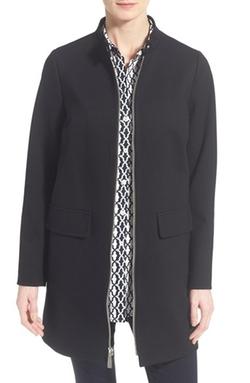 Vince Camuto - Stand Collar Ponte Zip Front Coat