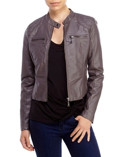 Jou Jou - Quilted Shoulder Faux Leather Jacket
