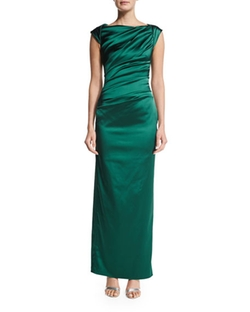 Talbot Runhof  - Cap-Sleeve Pleated-Front Gown