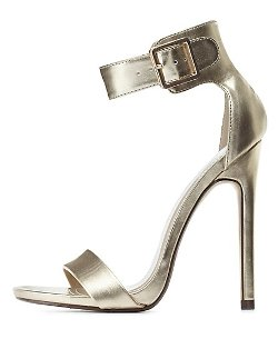 Charlotte Russe - Metallic Single Sole Ankle Strap Heels