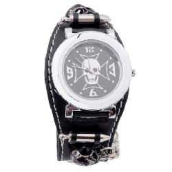 Wrist Watch - Topearl Gothic Punk Rock Chain Skull Bullets Leather Watch