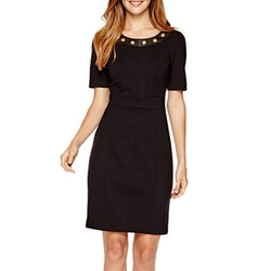 Worthington - Embellished-Neck Sheath Dress