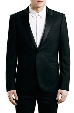 Topman - Black Jacquard Tuxedo Jacket