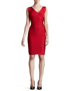 Herve Leger   - V-Neck Bandage Dress