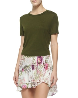 Haute Hippie - Crewneck Short-Sleeve Crop Top
