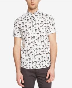 Kenneth Cole New York - Palm-Print Short-Sleeve Shirt