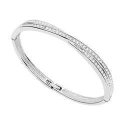 Alexnld.com - Crossover Shape Alloy & Crystal Bracelet