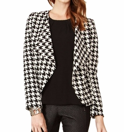 Fest Threads - Houndstooth Printed Collarless Blazer