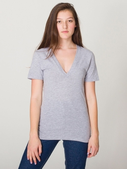 American Apparel - Sheer Jersey Short Sleeve Deep V-Neck T-Shirt