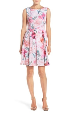 Donna Morgan - Floral Print Twill Fit & Flare Dress