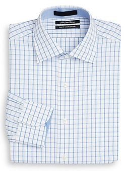 Saks Fifth Avenue  - Slim-Fit Grid Check Cotton Dress Shirt