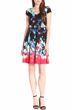 Sangria - V-Neck Floral Print Dress